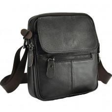 Темно-коричнева чоловіча шкіряна сумка через плечоTiding Bag A25-1169C