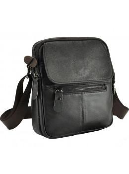Тёмно-коричнева мужская кожаная сумка через плечоTiding Bag A25-1169C