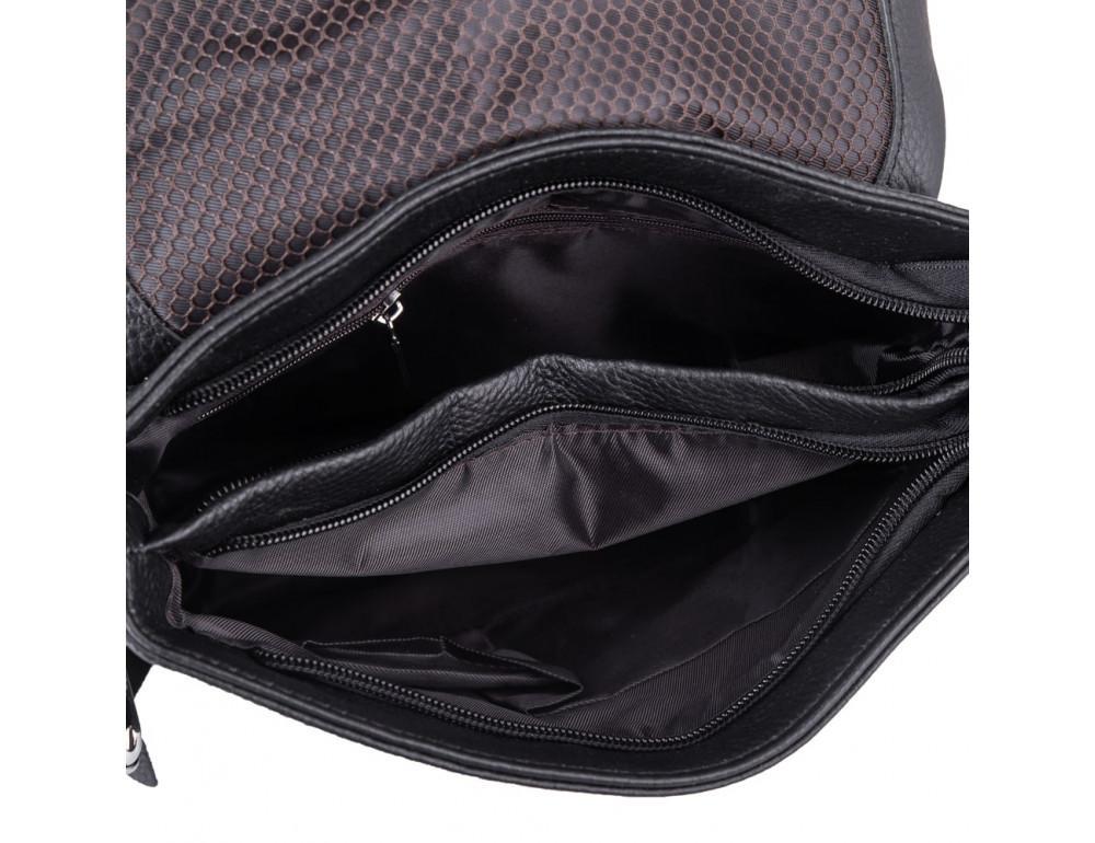 Чёрная кожаная сумка через плечо Tiding Bag A25F-8878A - Фото № 4