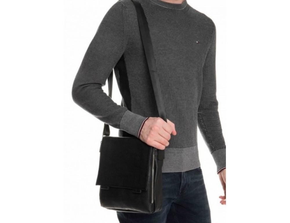 Чёрная маленькая мужская сумка через плечо Tiding Bag A25F-8877A - Фото № 2