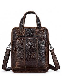 Коричневая кожаная сумка - рюкзак Tiding Bag A47-9909C