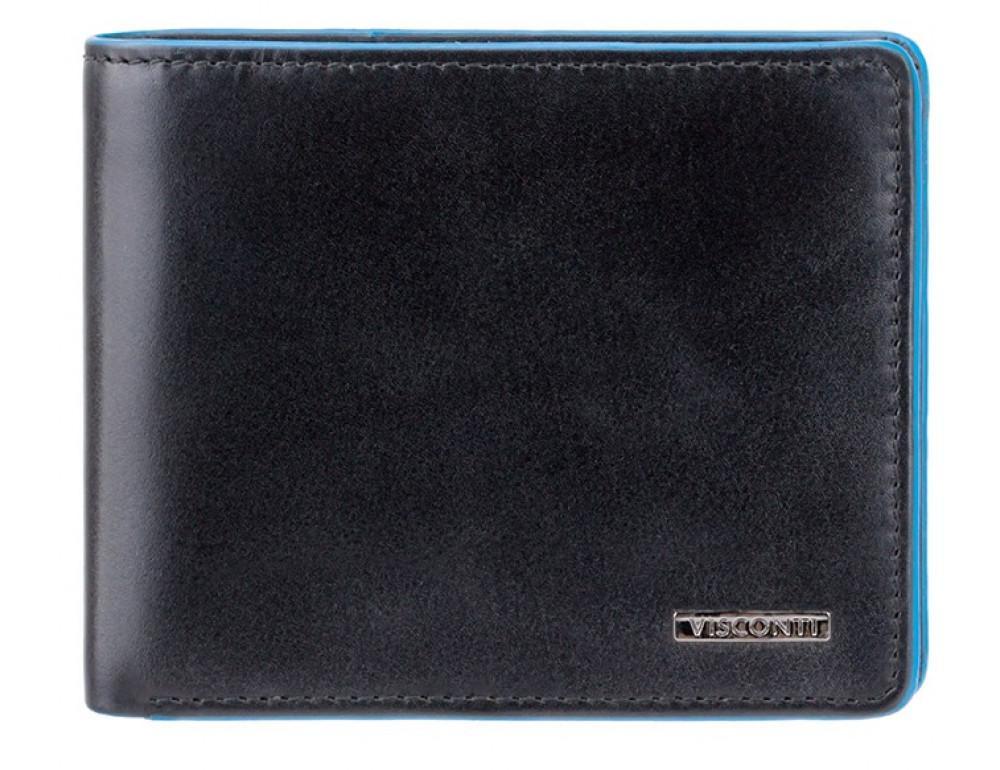 Чёрный кожаный кошелек мужской Visconti ALP85 IT BLK Ozwald с RFID - Фото № 1