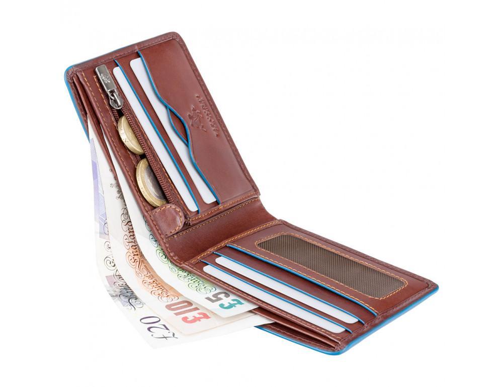 Коричневый кожаный кошелек мужской Visconti ALP85 IT BRN Ozwald с RFID - Фото № 4
