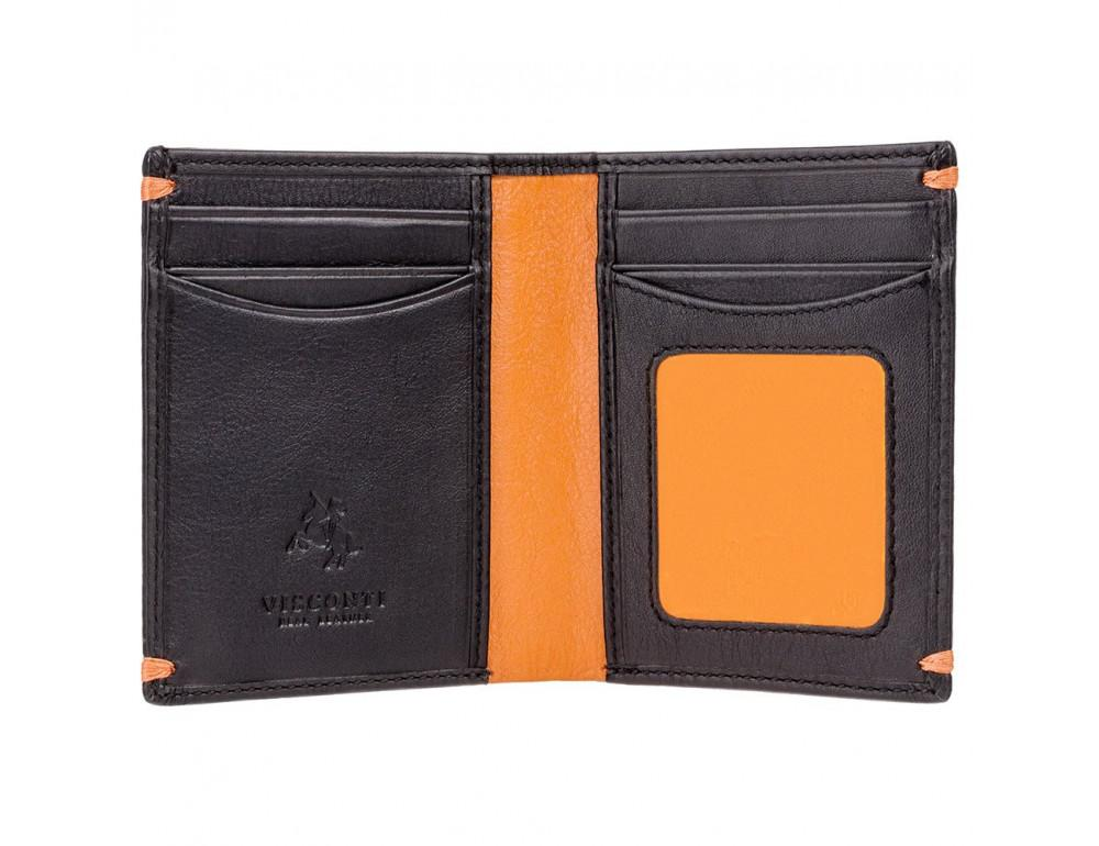 Мужской кожаный кошелек Visconti AP60 BLK/ORG Черный  - Фото № 2