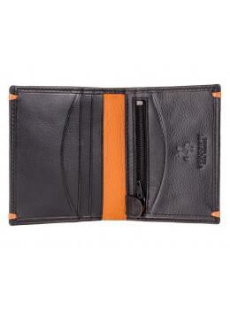 Чёрный кожаный портмоне с оранжевым Visconti AP61 BLK/ORG