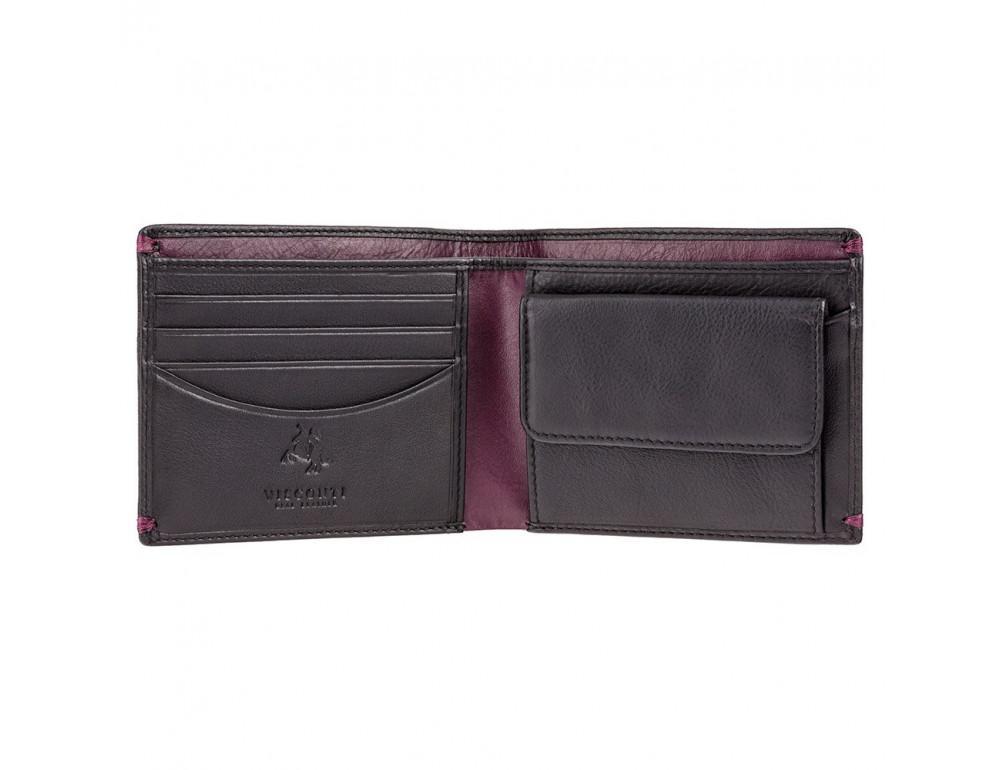 Мужской кожаный кошелек Visconti AP62 BLK/BG черный с винным - Фото № 2