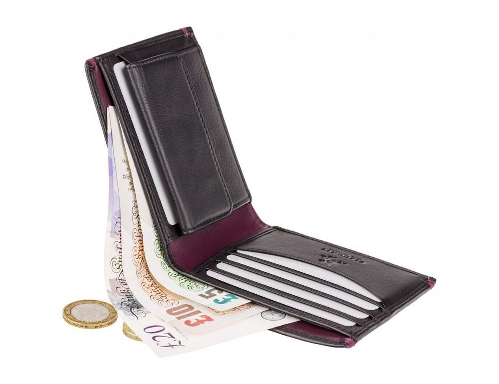 Мужской кожаный кошелек Visconti AP62 BLK/BG черный с винным - Фото № 5