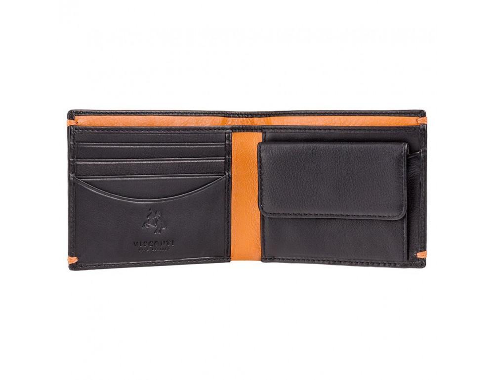 Мужской кожаный кошелек Visconti AP62 BLK/ORG черный с оранжевым - Фото № 2