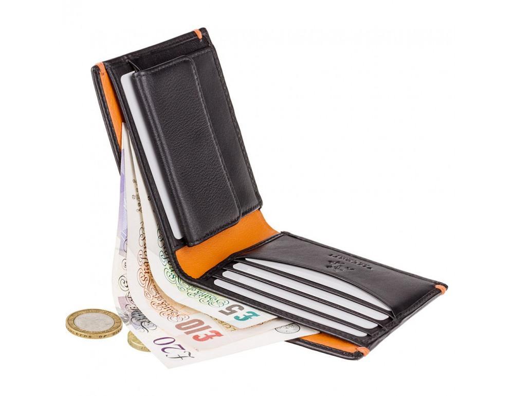 Мужской кожаный кошелек Visconti AP62 BLK/ORG черный с оранжевым - Фото № 6