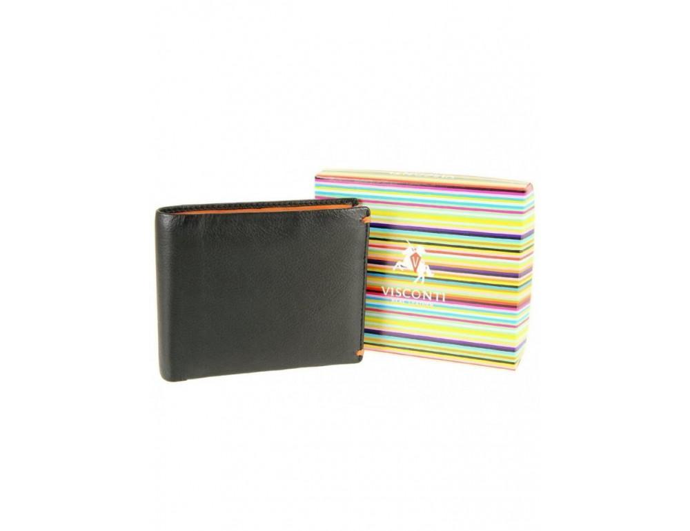 Мужской кожаный кошелек Visconti AP62 BLK/BG черный с винным - Фото № 6