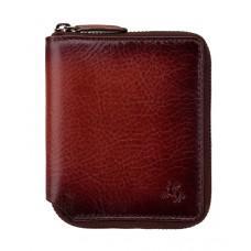 Маленький кожаный кошелёк на молнии Visconti  AT65 B/TAN Mondello c RFID