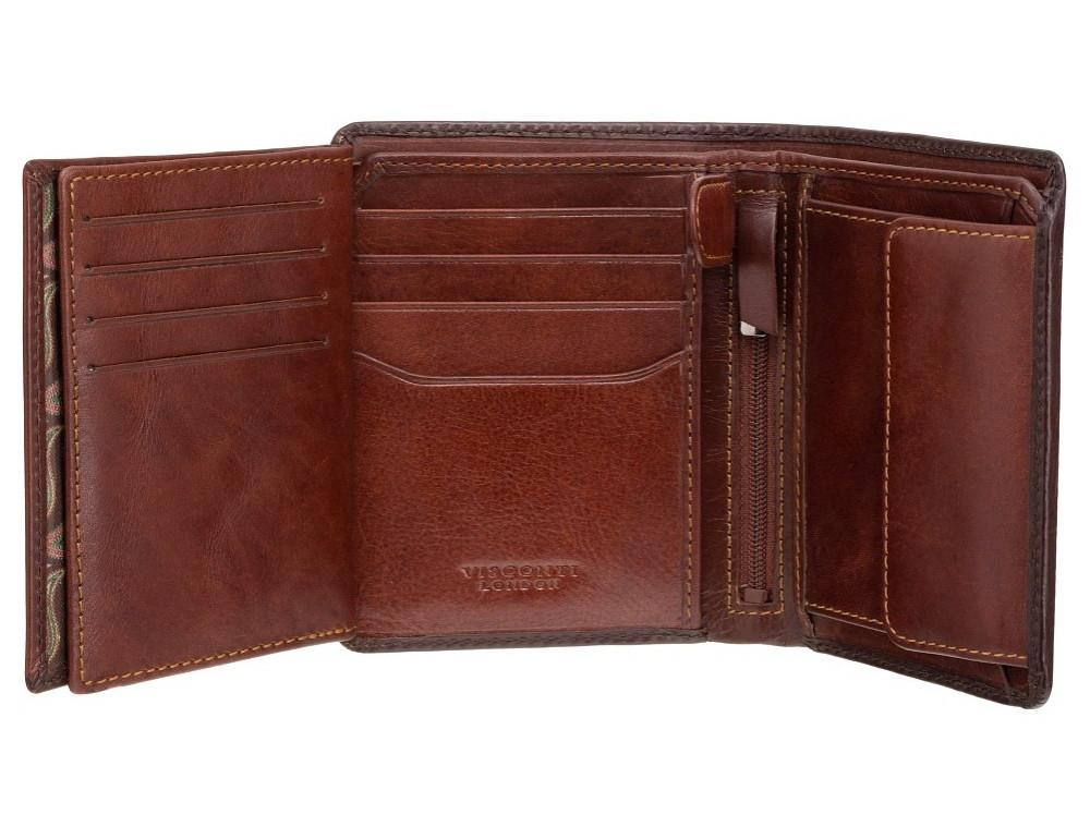 Коричневый кошелек мужской Visconti AT62 B/TAN David c RFID Burnish Tan - Фото № 3