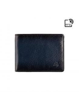 Синий кожаный портмоне мужское Visconti AT63 BLUE Roland c RFID (Burnish Blue)