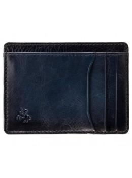 Синий кожаный кошелёк-картхолдер Visconti AT67 BLUE Madison