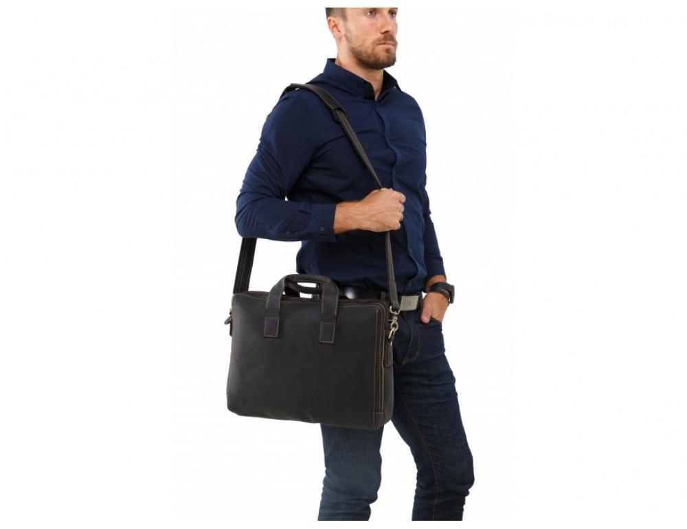 Мужская кожаная сумка TIDING BAG 7167A тёмно-коричневый - Фото № 2