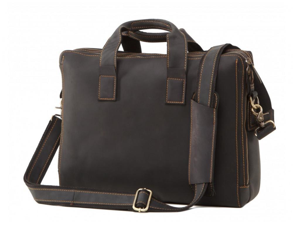 Мужская кожаная сумка TIDING BAG 7167A тёмно-коричневый - Фото № 1