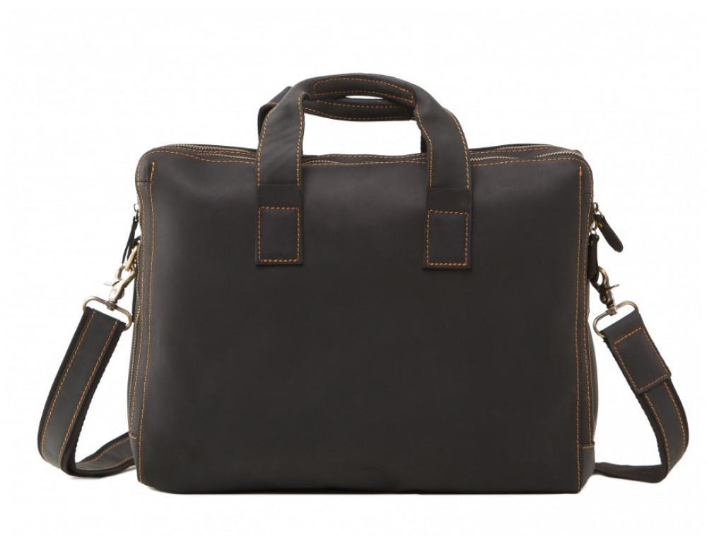 Мужская кожаная сумка TIDING BAG 7167A тёмно-коричневый - Фото № 3