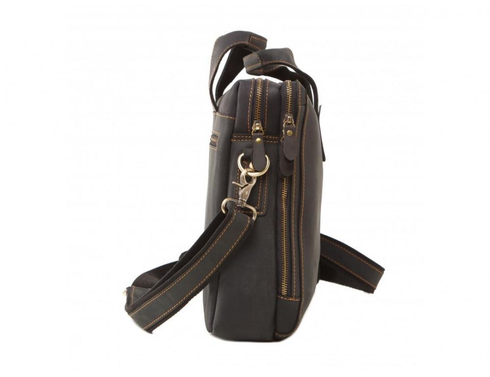 Мужская кожаная сумка TIDING BAG 7167A тёмно-коричневый - Фото № 5