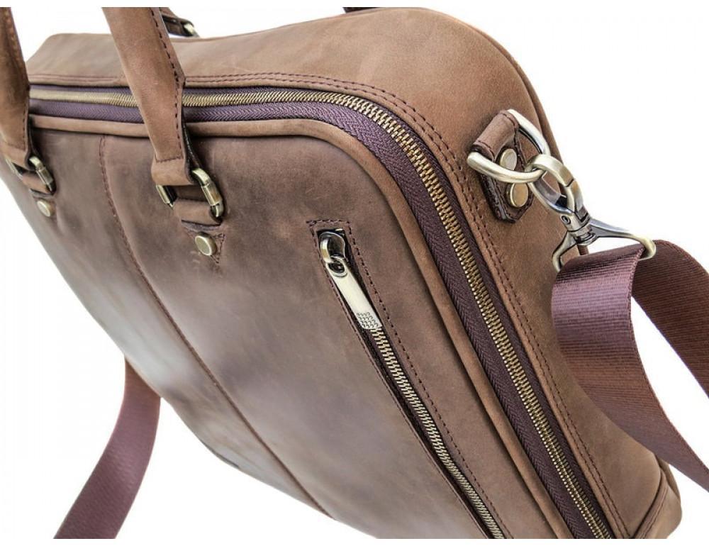 Мужской кожаный портфель Black Diamond BD2Ccrh коричневый - Фото № 6
