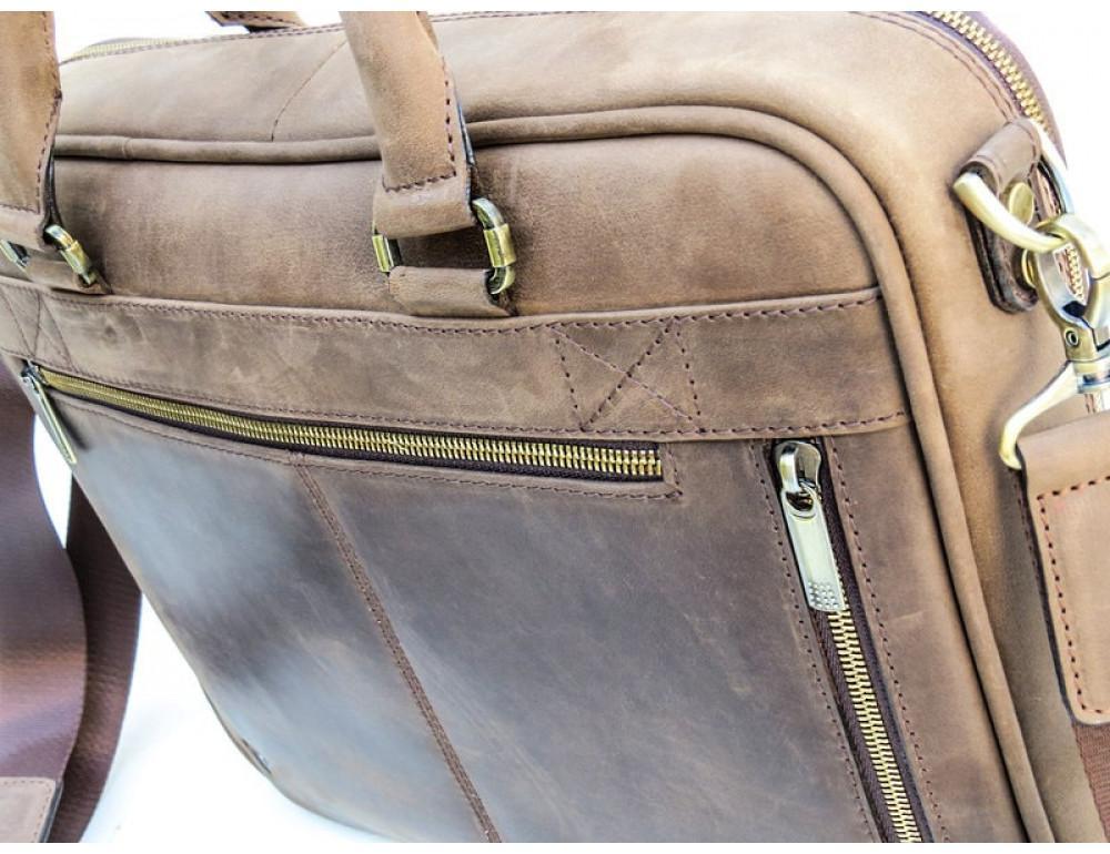 Мужской кожаный портфель Black Diamond BD2Ccrh коричневый - Фото № 5