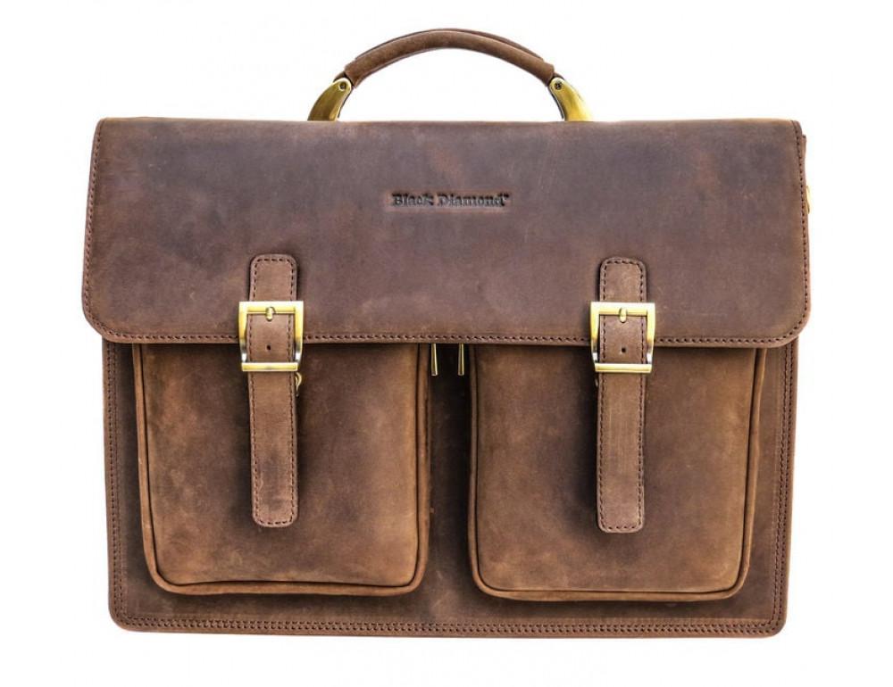 Мужской кожаный портфель Black Diamond BD50V2CCRH коричневый - Фото № 3