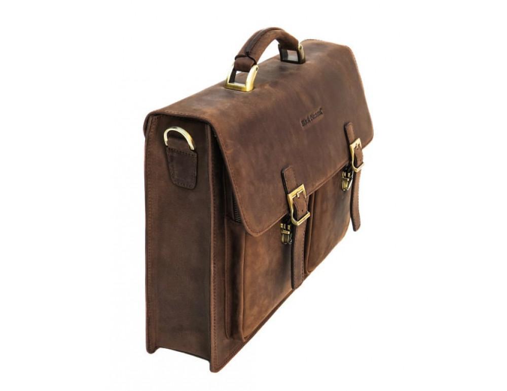 Мужской кожаный портфель Black Diamond BD50V2CCRH коричневый - Фото № 5