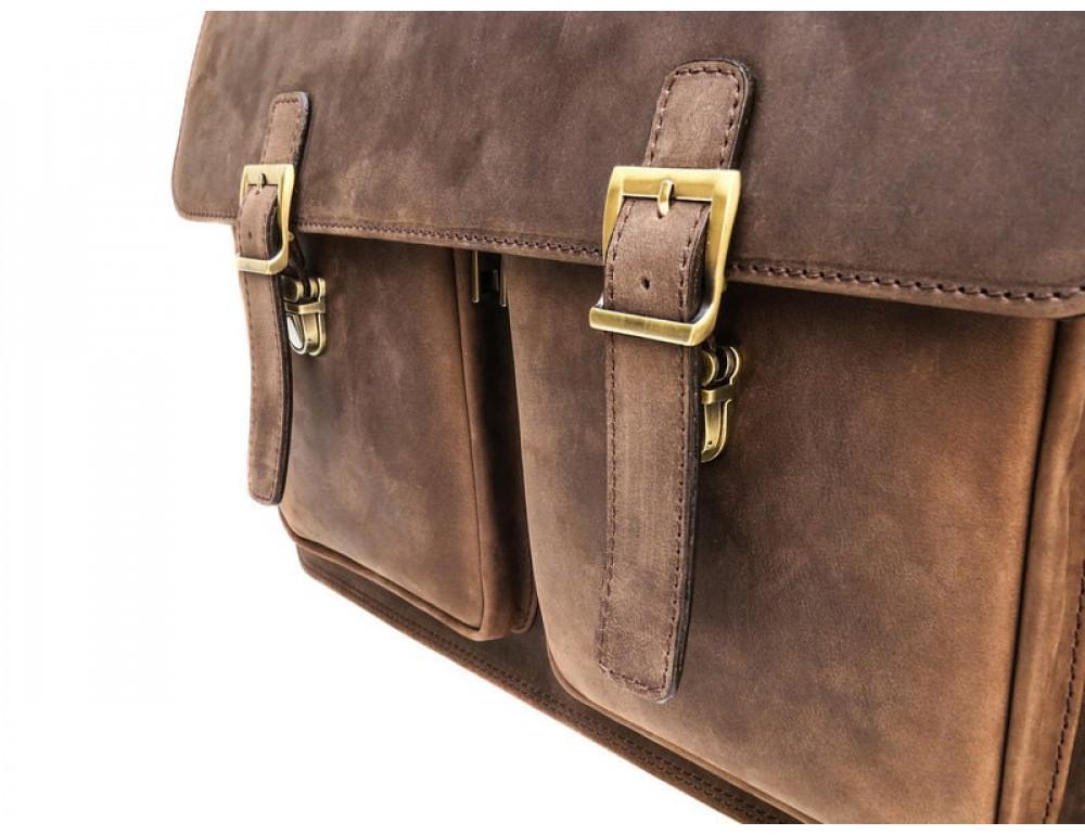 Мужской кожаный портфель Black Diamond BD50V2CCRH коричневый - Фото № 7