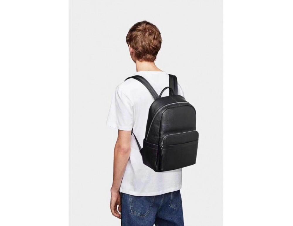 Чёрный кожаный рюкзак Tiding Bag B3-153A - Фото № 2
