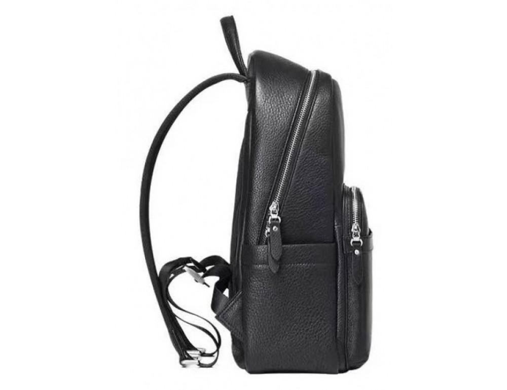 Чёрный кожаный рюкзак Tiding Bag B3-153A - Фото № 3
