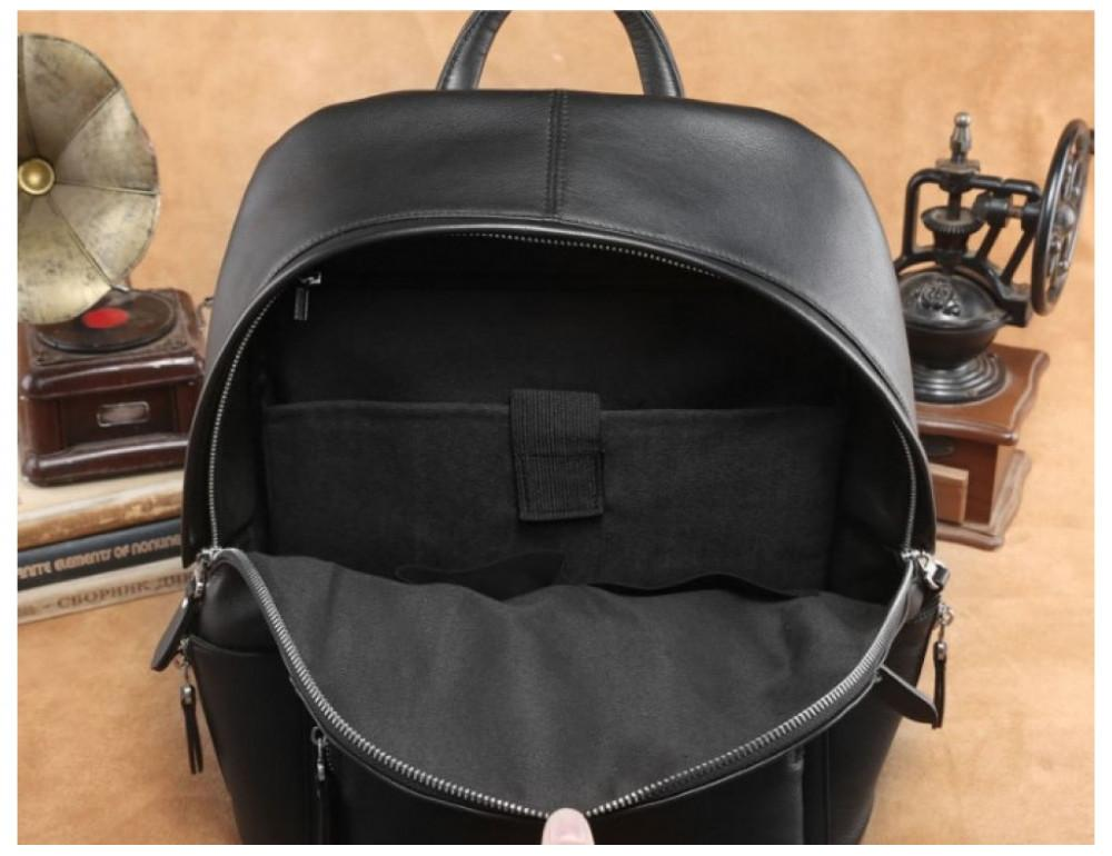 Чёрный кожаный рюкзак Tiding Bag B3-153A - Фото № 5