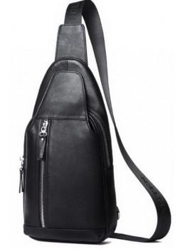 Мужской кожаный мессенджер Tiding Bag B3-1701A чёрный