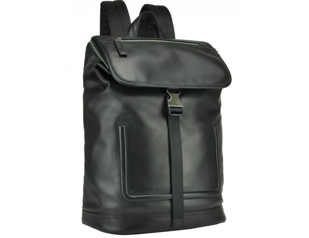 Чёрный кожаный рюкзак с клапаном Tiding Bag B3-2731A