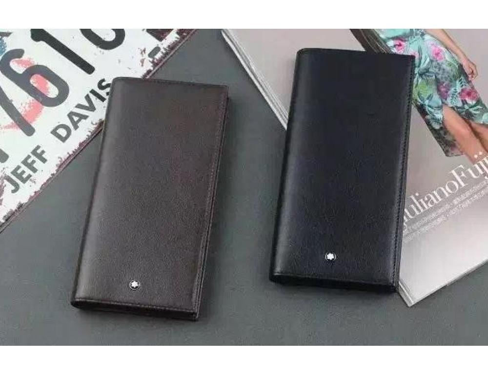 Мужской кожаный портмоне Montblanc 114535 чёрный - Фото № 4