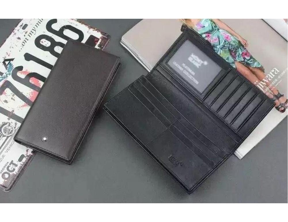 Мужской кожаный портмоне Montblanc 114535 чёрный - Фото № 2