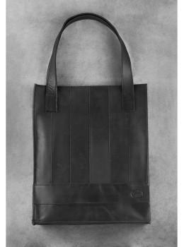 Чёрная кожаная сумка шоппер Blanknote BN-BAG-10-G-KR