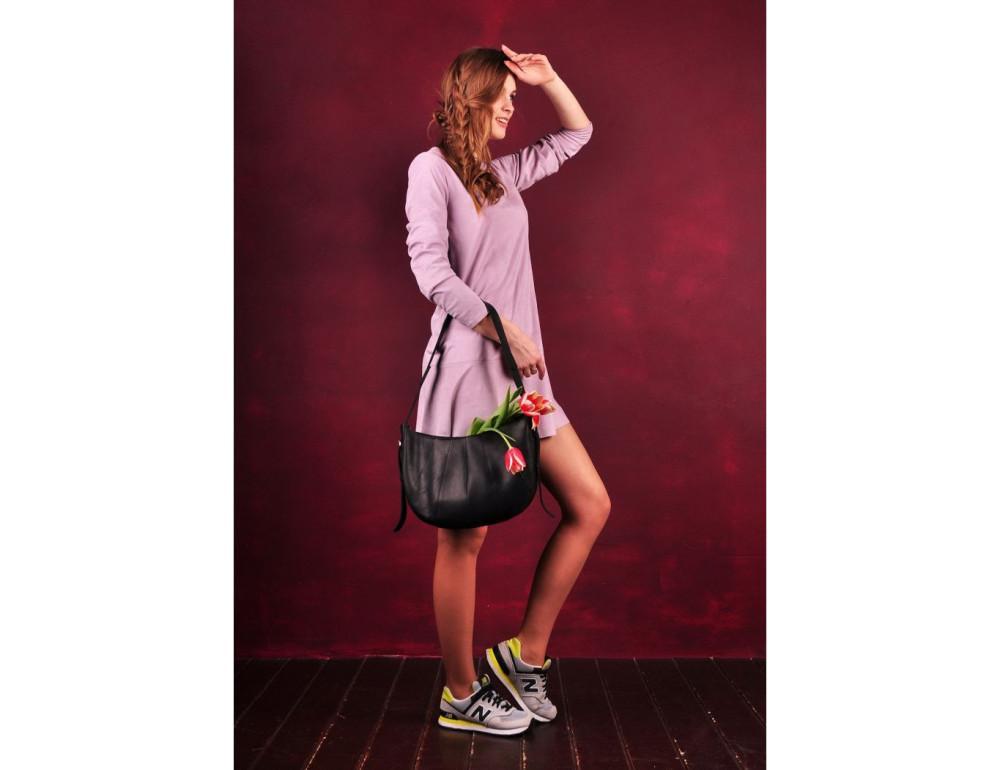 Чёрная полукруглая сумка женская Blancnote BN-BAG-12-G-KR - Фото № 2
