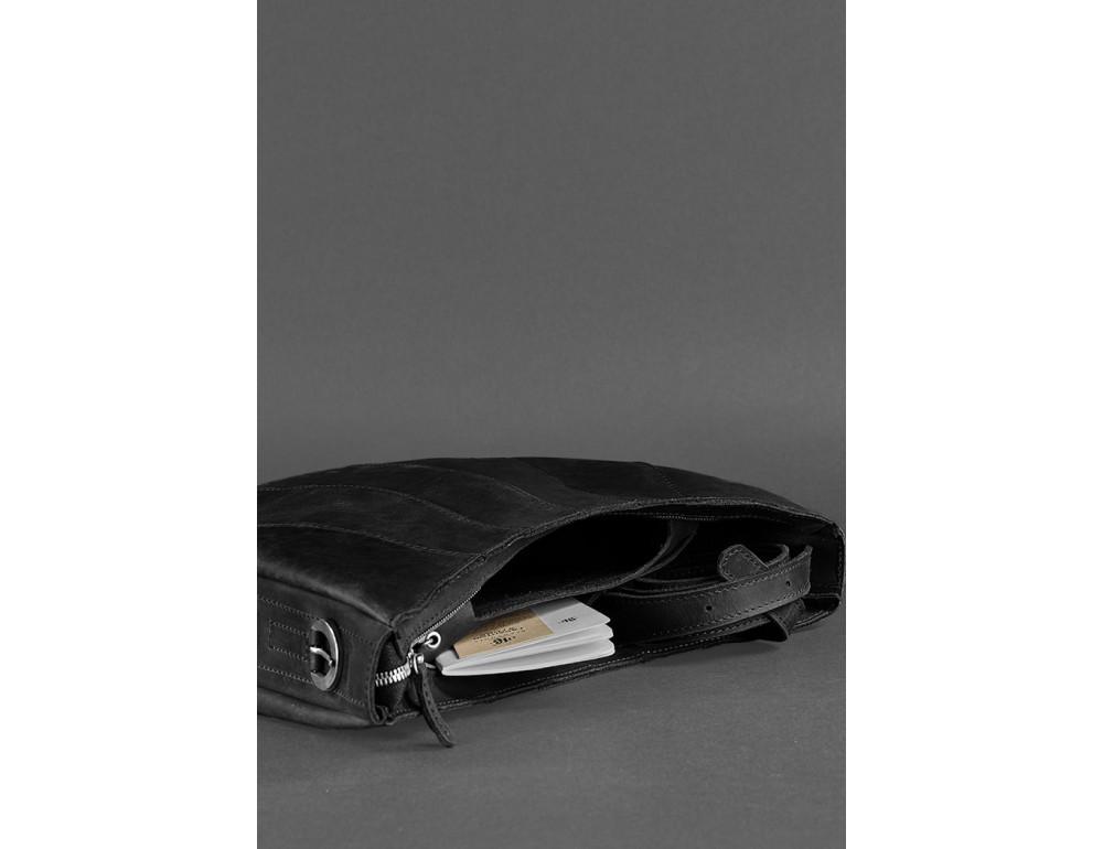 Чёрная полукруглая сумка женская Blancnote BN-BAG-12-G-KR - Фото № 4