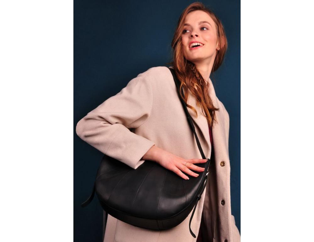 Чёрная полукруглая сумка женская Blancnote BN-BAG-12-G-KR - Фото № 6