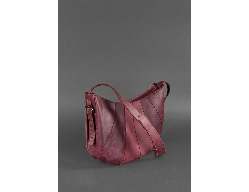 Бордова шкіряна сумка через плече жіноча Blacnote BN-BAG-12-VIN-KR - Фотографія № 3