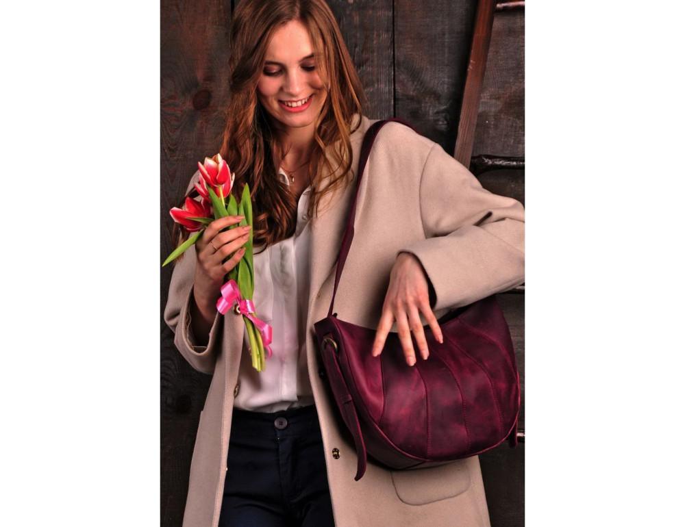 Бордова шкіряна сумка через плече жіноча Blacnote BN-BAG-12-VIN-KR - Фотографія № 5