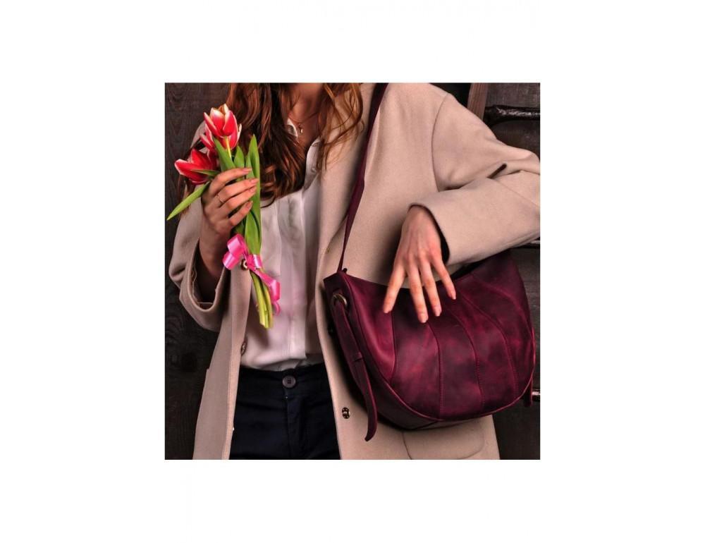 Бордова шкіряна сумка через плече жіноча Blacnote BN-BAG-12-VIN-KR - Фотографія № 6