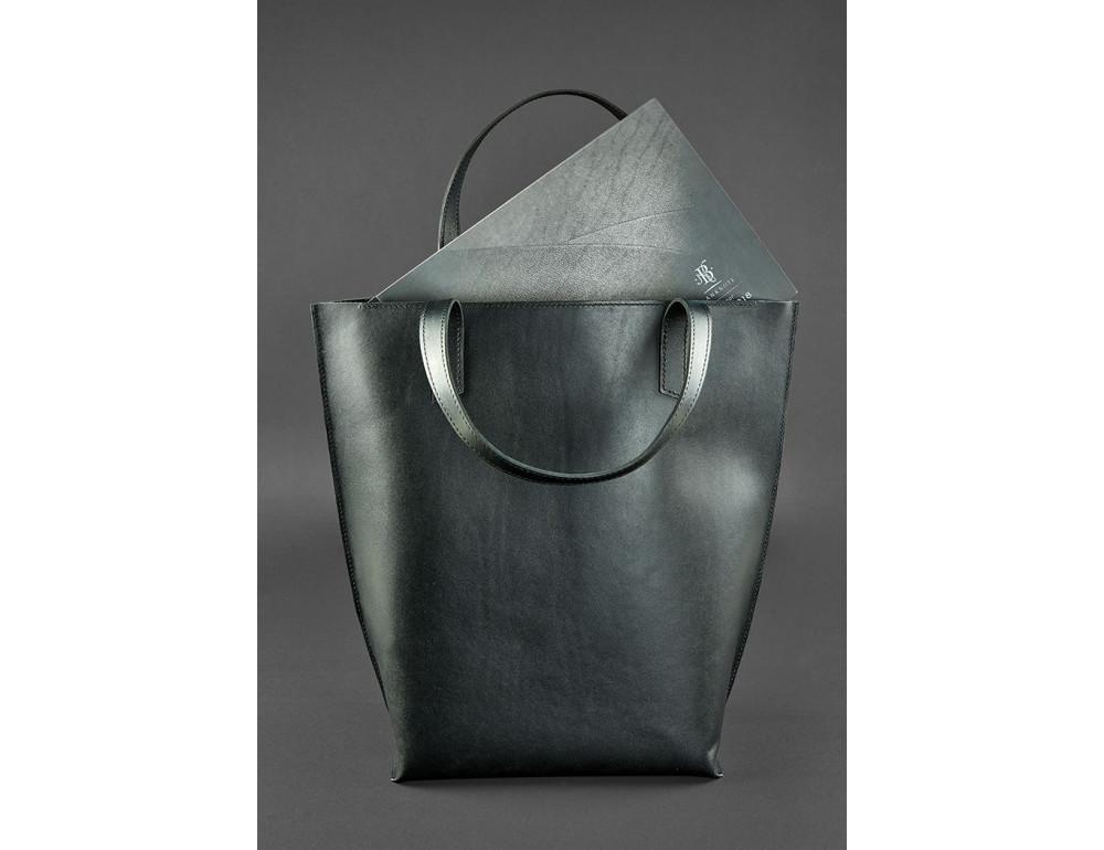 Вместительная женская сумка Шопер blanknote D.D. черный графит - Фото № 3