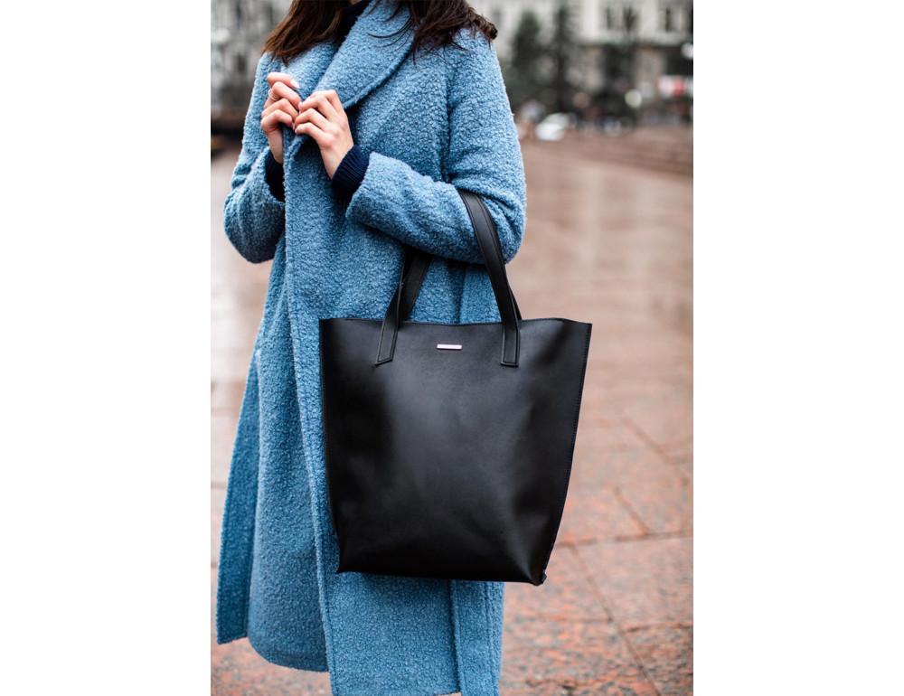 Вместительная женская сумка Шопер blanknote D.D. черный графит - Фото № 5