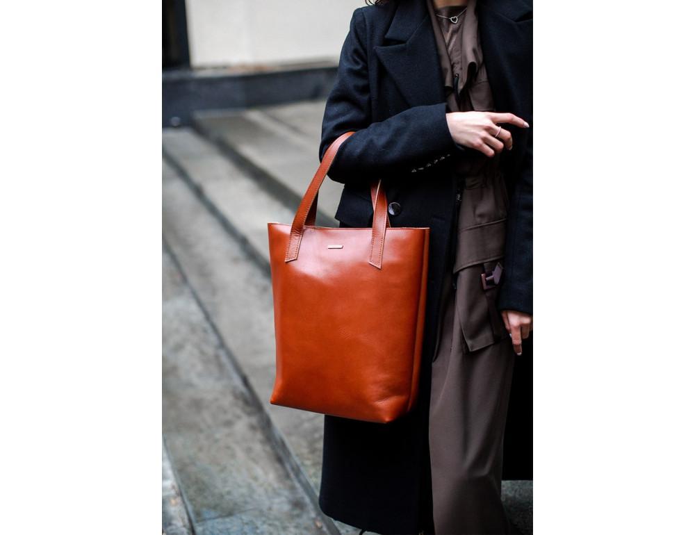 Вместительная женская сумка Шопер blanknote D.D. коньяк - Фото № 2