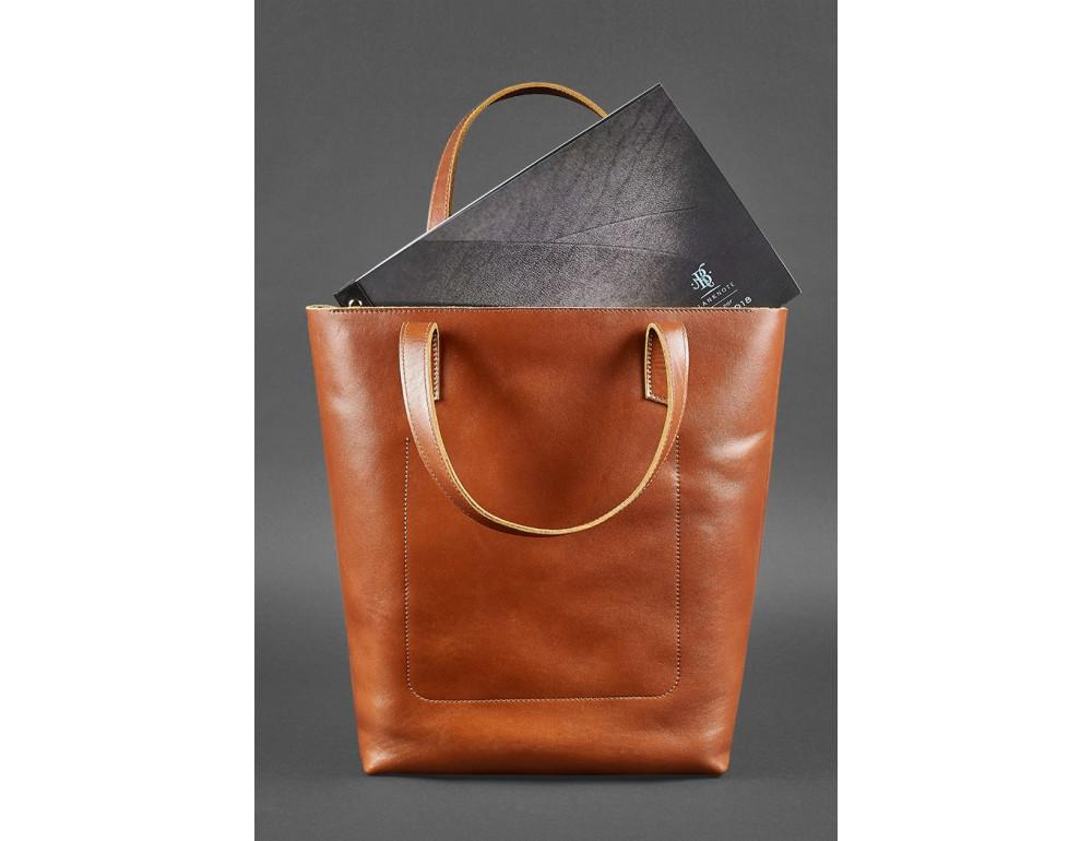 Вместительная женская сумка Шопер blanknote D.D. коньяк - Фото № 3