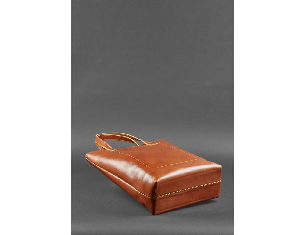 Вместительная женская сумка Шопер blanknote D.D. коньяк - Фото № 4