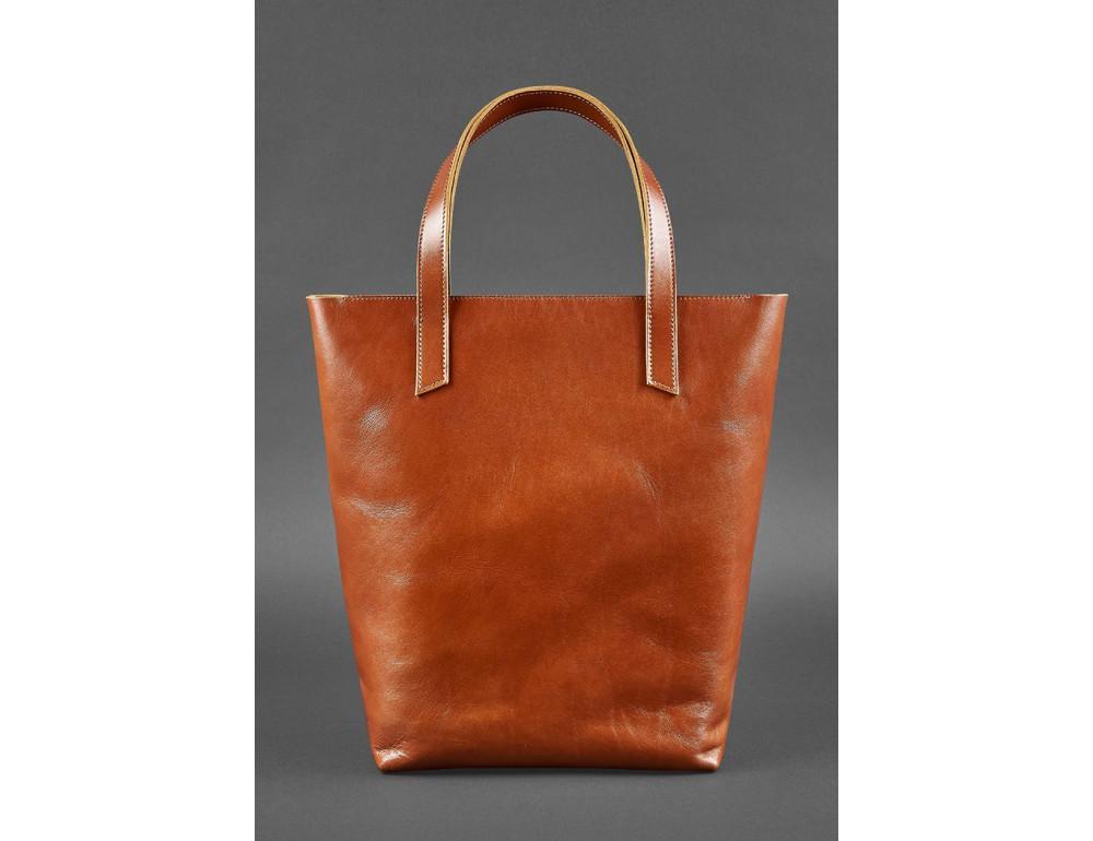 Вместительная женская сумка Шопер blanknote D.D. коньяк - Фото № 5