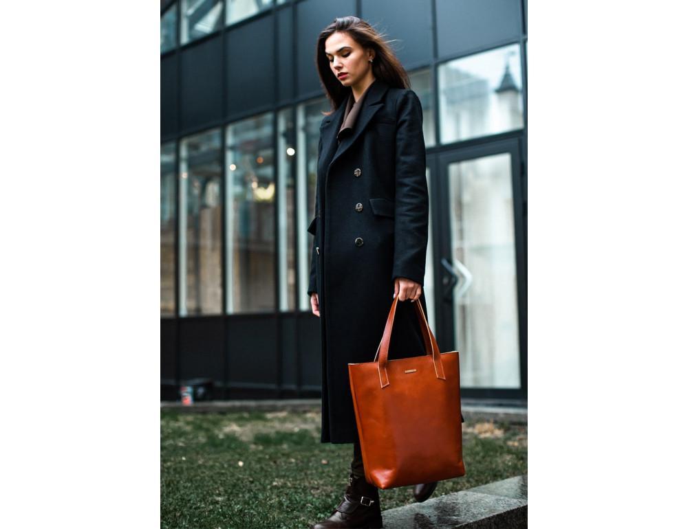Вместительная женская сумка Шопер blanknote D.D. коньяк - Фото № 6