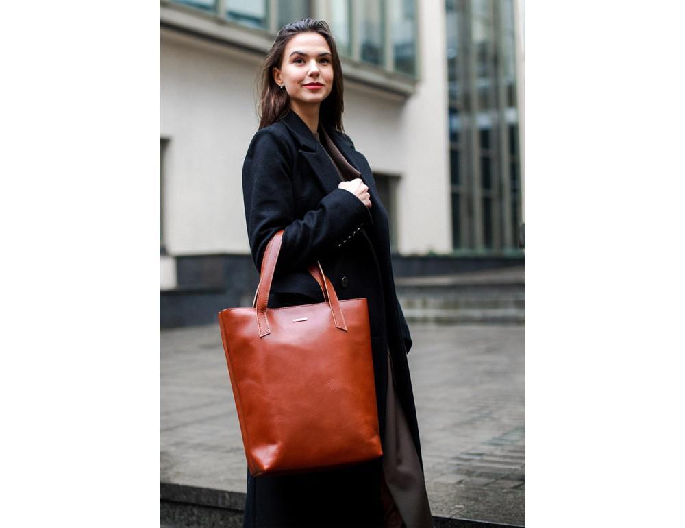 Вместительная женская сумка Шопер blanknote D.D. коньяк - Фото № 7