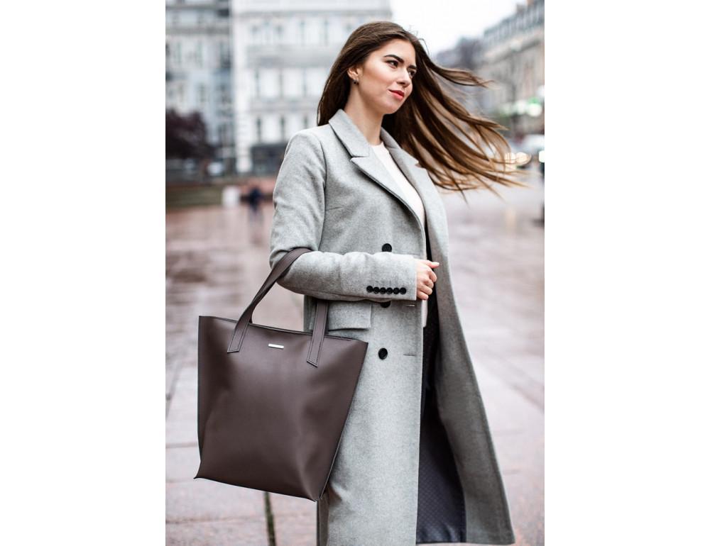 Тёмно-бежевая кожаная сумка шоппер Blancnote BN-BAG-17-BEIGE - Фото № 2